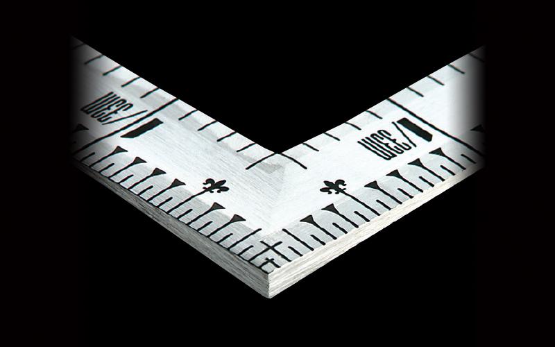 曲尺角厚  シルバー  1尺6寸  裏面角目  重宝