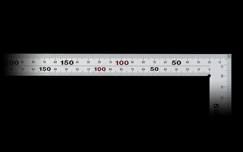 曲尺厚手広巾  シルバー  50㎝  表裏同目  6段目盛  JIS