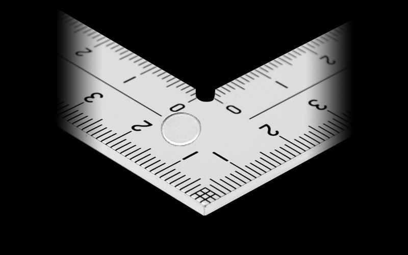 曲尺厚手広巾  シルバー  15㎝  表裏同目8段目盛㎝表示マグネット付