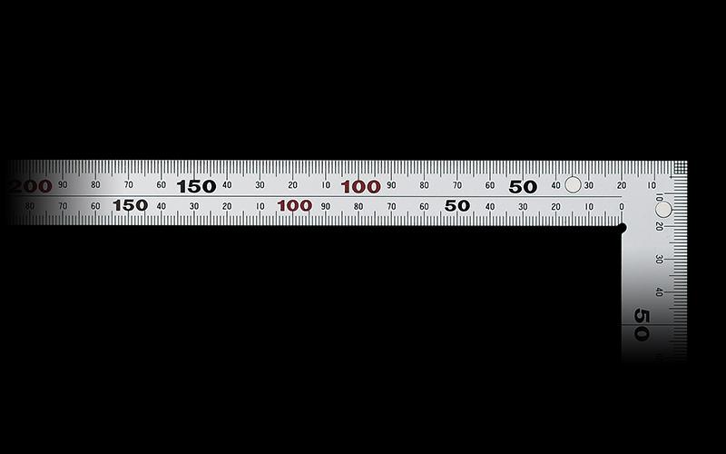 曲尺厚手広巾  シルバー  50㎝  表裏同目6段目盛マグネット付JIS