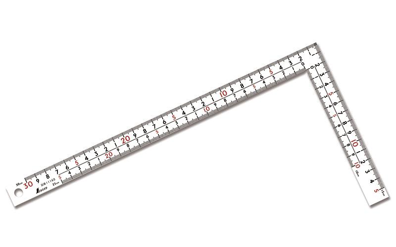 曲尺厚手広巾  ホワイト  30㎝  表裏同目  8段目盛