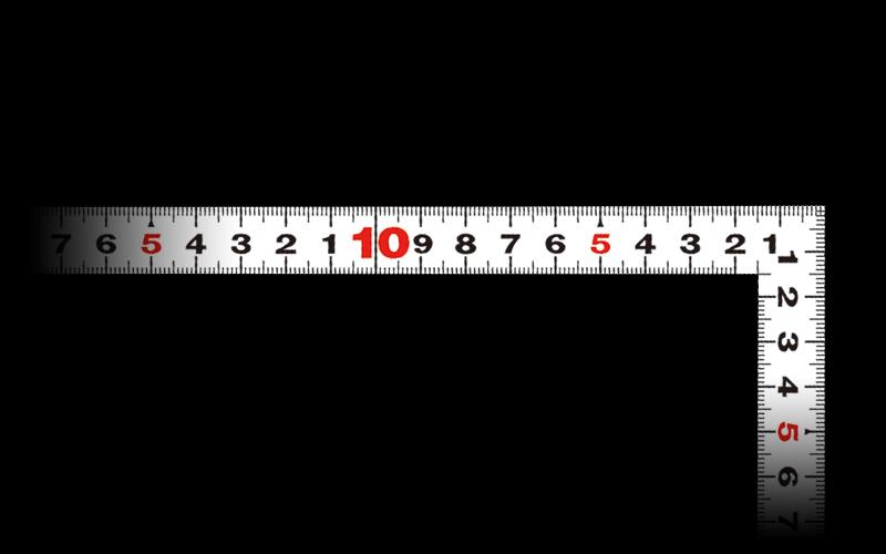 曲尺平ぴた  ホワイト  30㎝/1尺併用目盛
