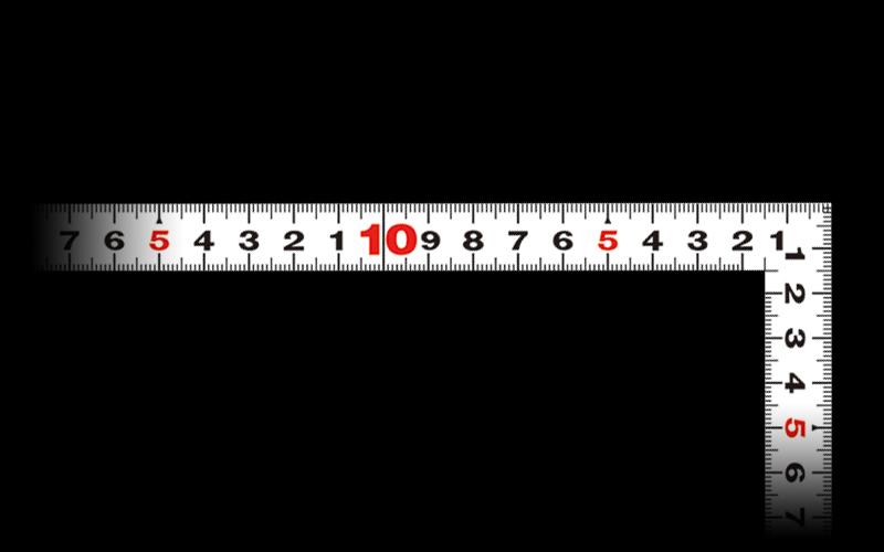 曲尺平ぴた  ホワイト  50㎝/1尺5寸  併用目盛