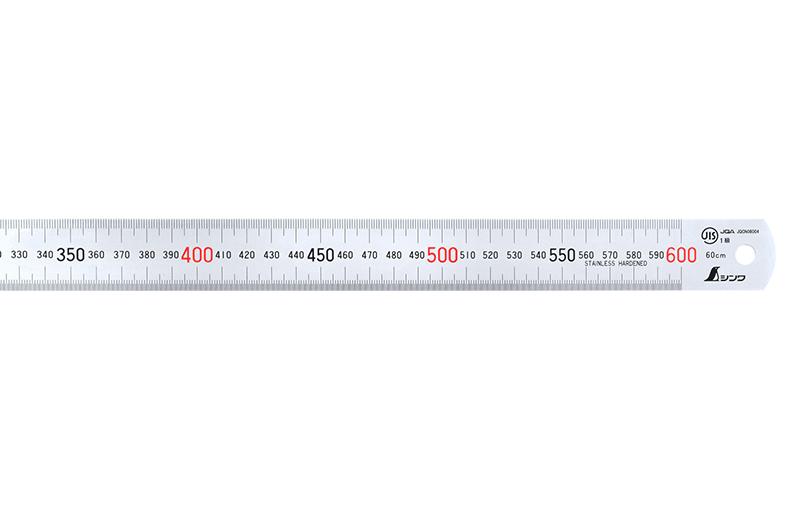 直尺  シルバー  60㎝  赤数字入  JIS