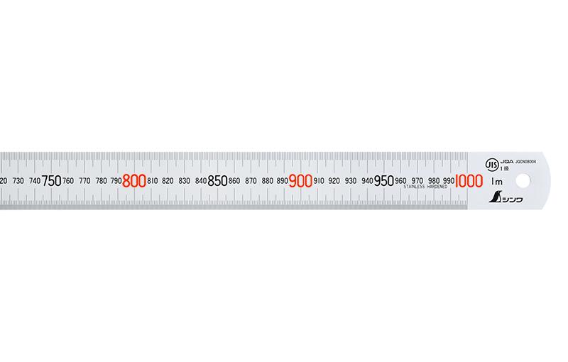 直尺  シルバー  1m  赤数字入  JIS