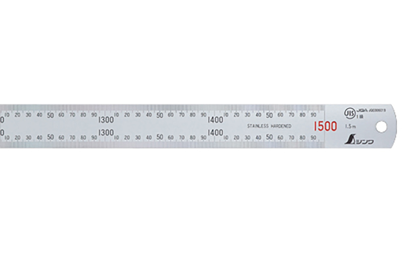 直尺  シルバー  1.5m  赤数字入  JIS