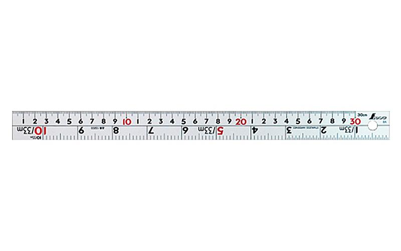直尺  シルバー  30㎝  併用目盛  W左基点  ㎝表示赤数字入