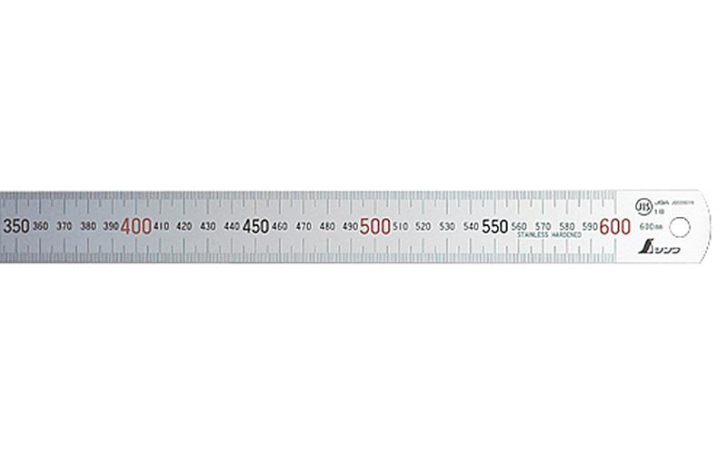 直尺  シルバー  60㎝  上下段1㎜ピッチ  赤数字入  JIS