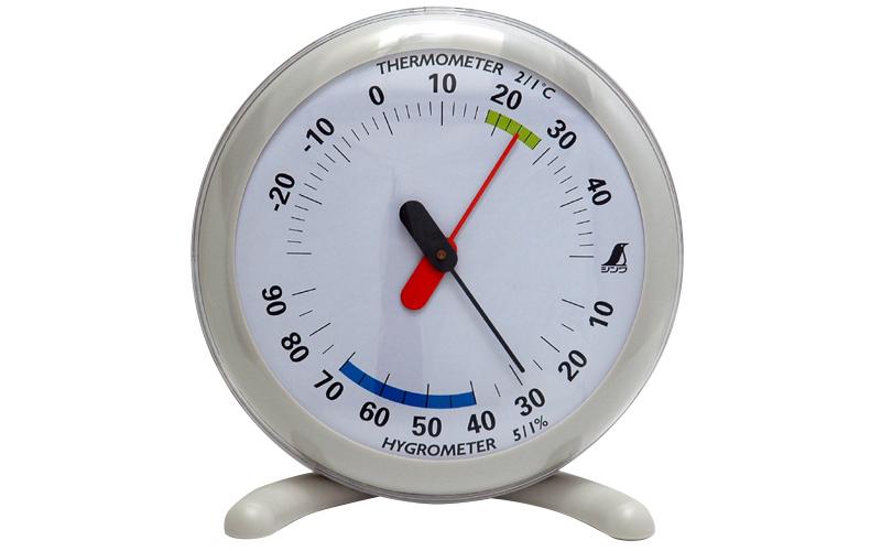 温湿度計  Q-1  丸型  15㎝  ライトグレー