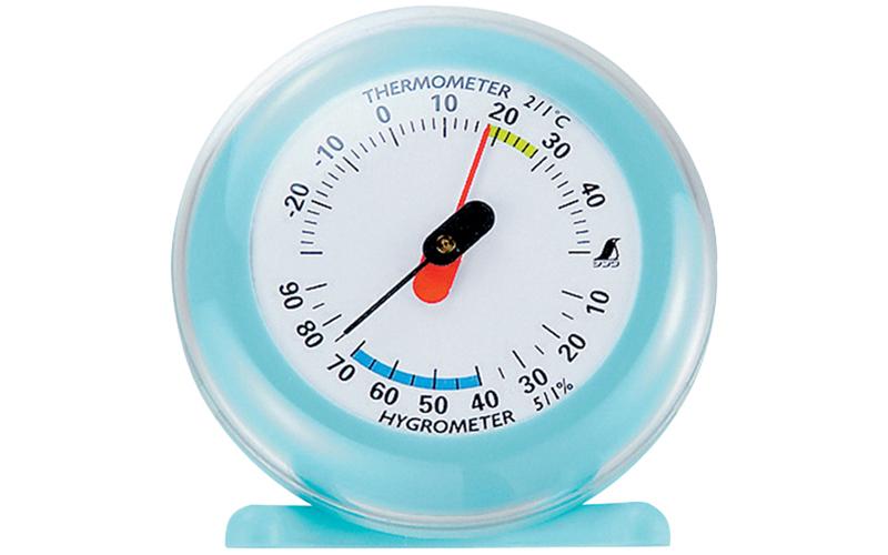 温湿度計  Q-3  丸型  6.5㎝  ライトブルー