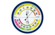 温湿度計  F-4L  生活管理  丸型  15㎝  ブルー