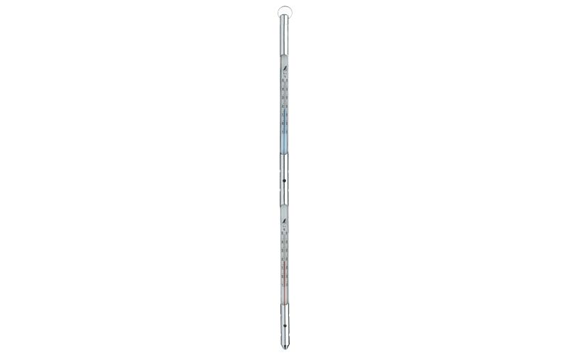 棒状温度計H-9アルコール赤・青-10~50℃15㎝×2金属ケース付