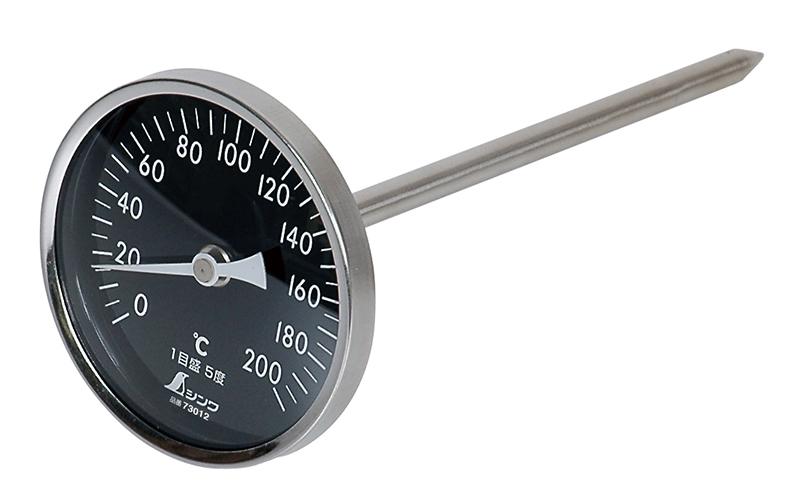 温度計  V-4  丸T字型  0~200℃  φ8×20㎝  白目盛
