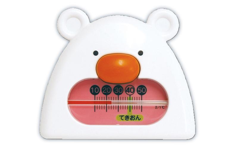 風呂用温度計  B-9  くまさん  ホワイト&ピンク