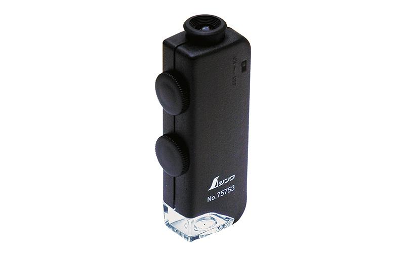 ルーペ  H  ポケット型顕微鏡  60~100倍  LEDライト付