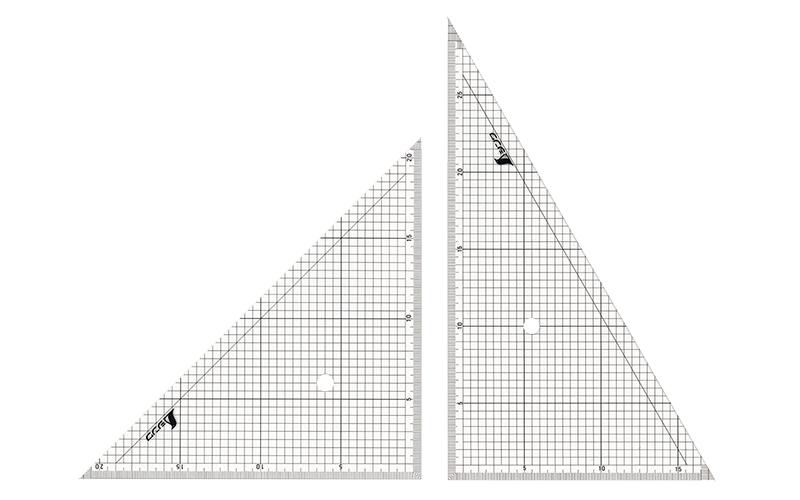 三角定規  アクリル製  30㎝  方眼目盛付  2枚組