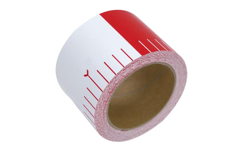 貼付ロッド  合成紙製  75㎜×25m  赤白20㎝間隔