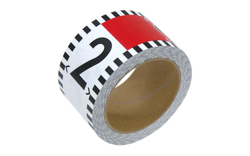 貼付ロッド  合成紙製60㎜×26m赤白20㎝間隔  目盛数字付