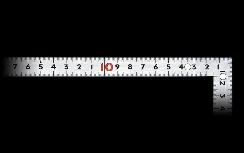 曲尺同厚  シルバー  50㎝  表裏同目  マグネット付  JIS