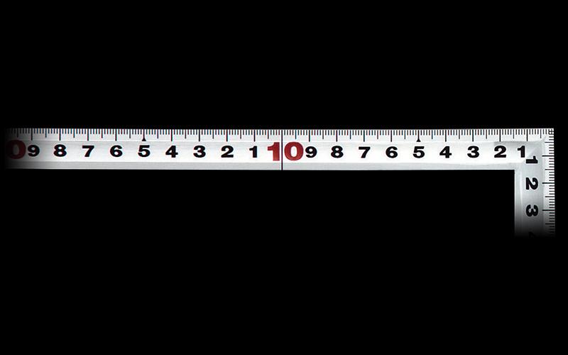 曲尺角厚  シルバー  30㎝  表裏同目  JIS