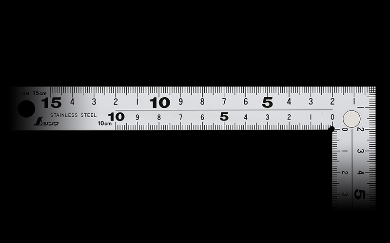 曲尺厚手広巾  シルバー  15㎝表裏同目8段目盛㎝表示マグネット付
