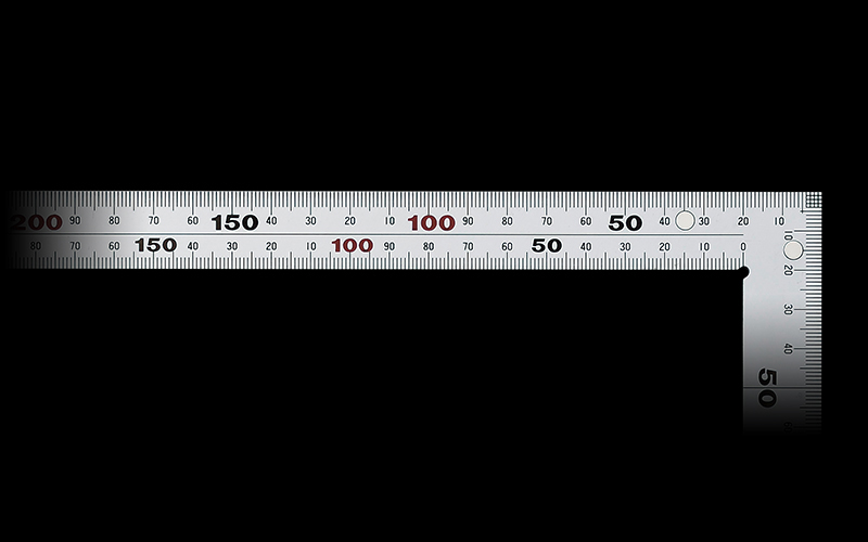 曲尺厚手広巾  シルバー  50㎝表裏同目6段目盛マグネット付JIS