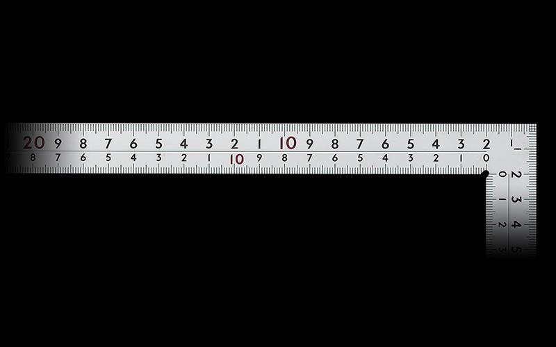 曲尺厚手広巾  シルバー  50㎝  表裏同目  8段目盛  ㎝表示  JIS