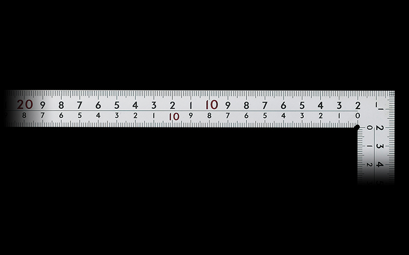 曲尺厚手広巾  シルバー  30㎝表裏同目  8段目盛  ㎝表示  JIS