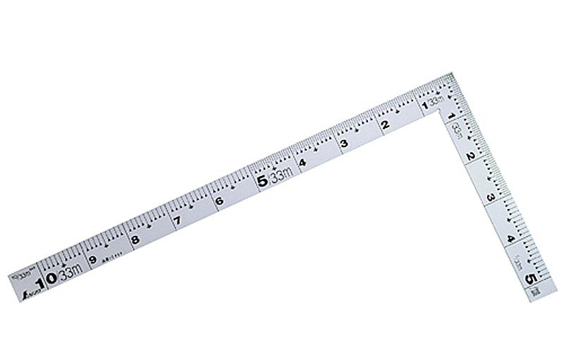 曲尺厚手広巾  シルバー  1尺  表裏同目  4段目盛