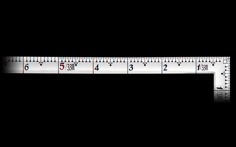 曲尺高級角薄  シルバー  1尺6寸  裏面角目  匠甚五郎