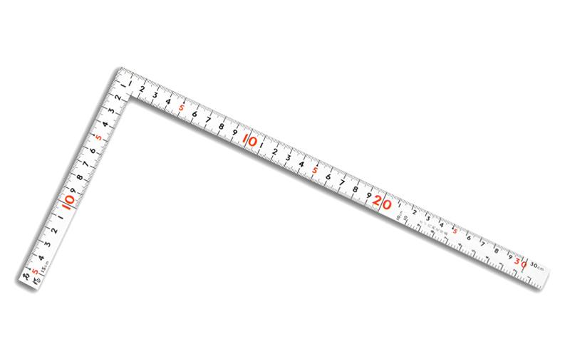 曲尺同厚  ホワイト  1尺/30㎝併用目盛  名作