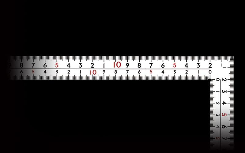 曲尺厚手広巾  ホワイト  30㎝表裏同目  8段目盛