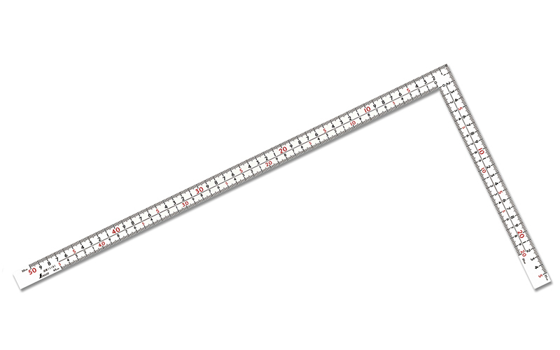 曲尺厚手広巾  ホワイト  50㎝  表裏同目  8段目盛