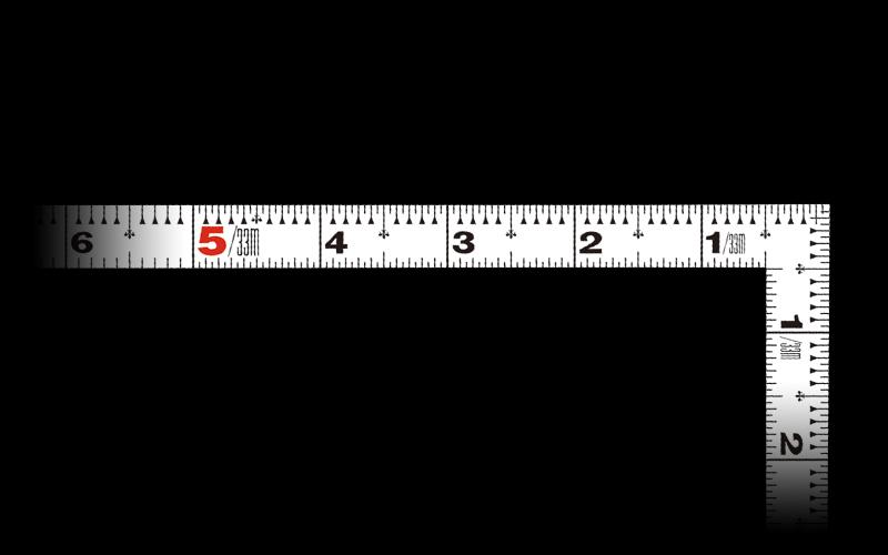 曲尺平ぴた  ホワイト  1尺/30㎝併用目盛