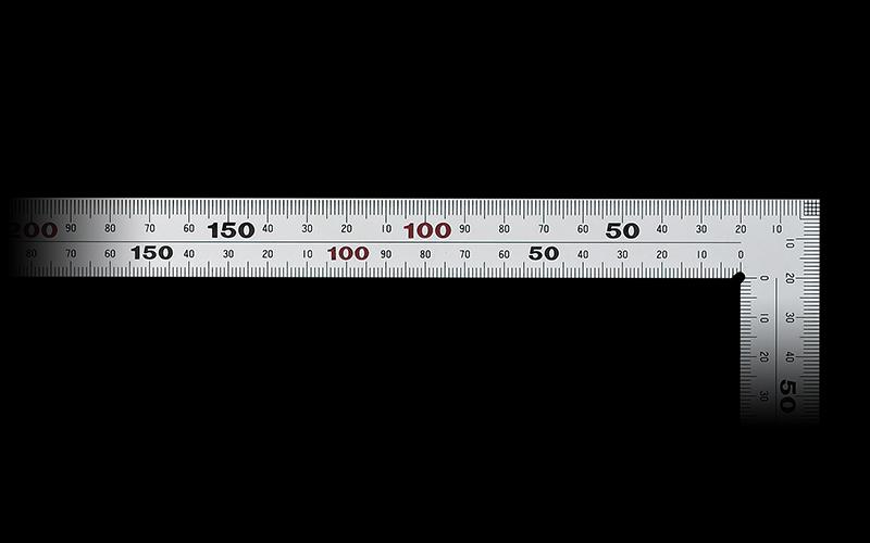 曲尺厚手広巾  シルバー  50㎝表裏同目  8段目盛  JIS
