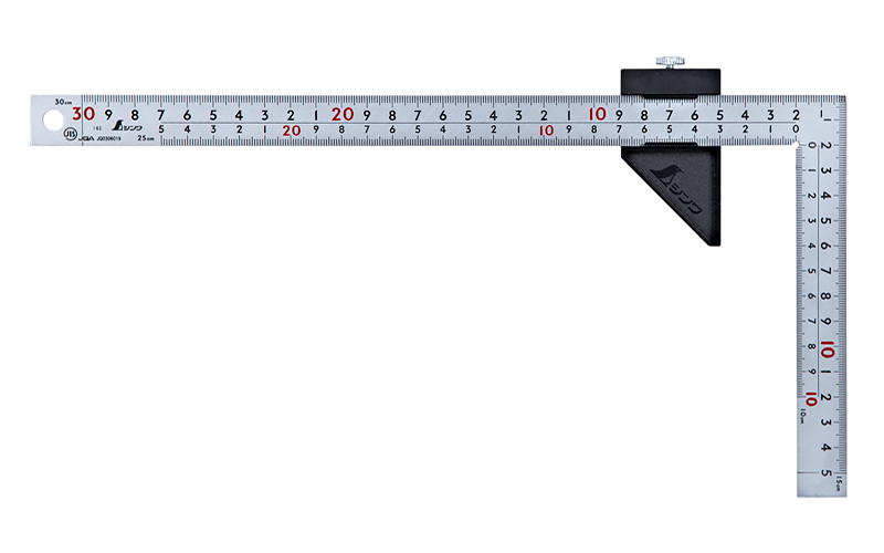 曲尺厚手広巾  シルバー30㎝表裏同目  8段目盛  ストッパー付  JIS