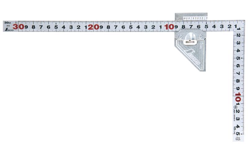 曲尺平ぴた  シルバー  30㎝  表裏同目曲尺用ストッパー金属製付JIS