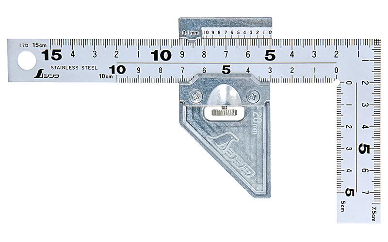 曲尺厚手広巾  シルバー15㎝表裏  同目8段  曲尺用ストッパー金属製付