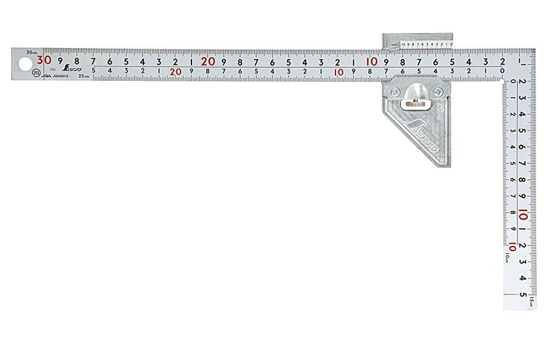 曲尺厚手広巾シルバー30㎝表裏同目8段曲尺用ストッパー金属製付JIS
