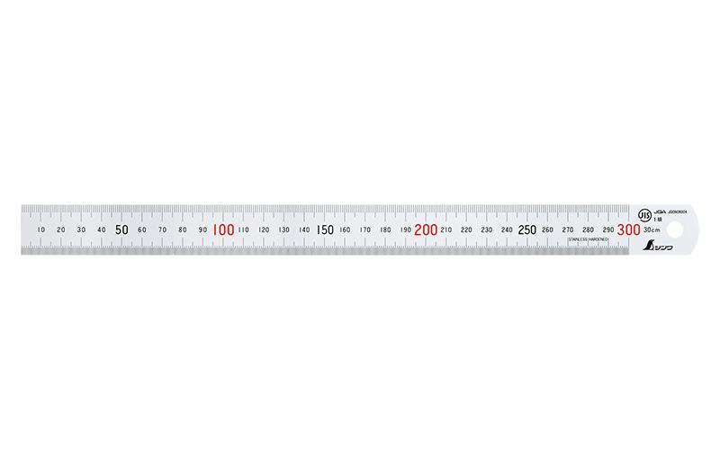 直尺  シルバー  30㎝  赤数字入  JIS