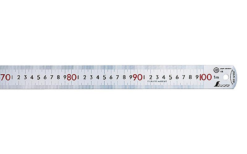 ピックアップスケール  シルバー1m㎝表示上下1㎜ピッチ赤数字入JIS