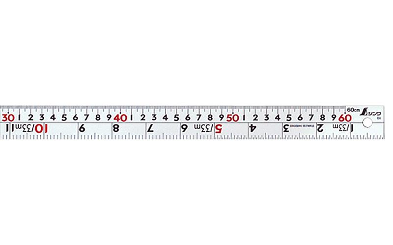 直尺  シルバー  60㎝  併用目盛  W左基点  ㎝表示赤数字入