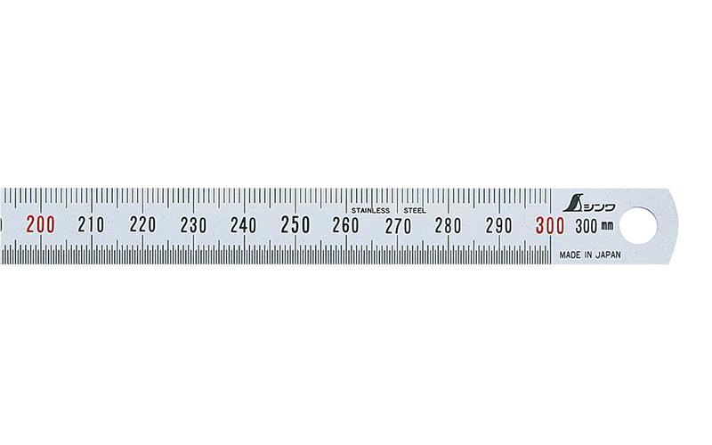 細巾直尺  シルバー  30㎝  赤数字入