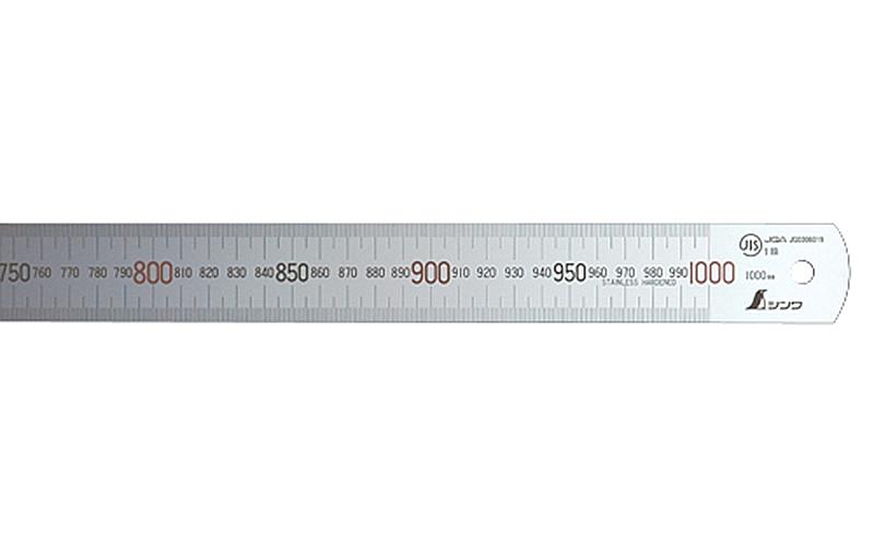 直尺  シルバー  1m  上下段1㎜ピッチ  赤数字入  JIS
