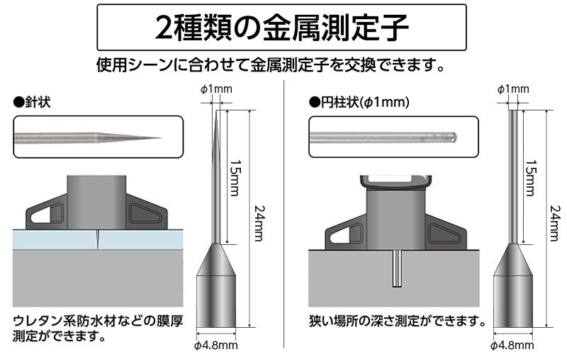 デジタルデップスゲージ  ミニ  25㎜  金属測定子  測定ガイドセット
