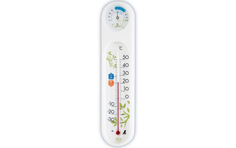 温湿度計  PCオーバル  エコ  ホワイト