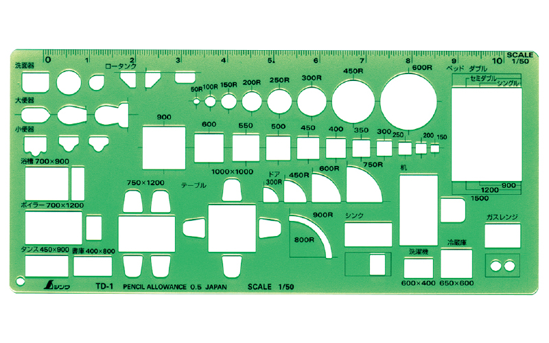 テンプレート  TD-1  家具記号定規(大)1/50