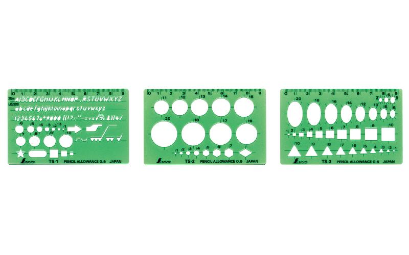 テンプレート  TS-A  一般総合定規  カードタイプ  3枚組