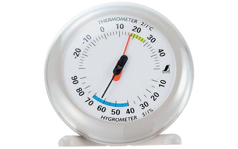 温湿度計  Q-2  丸型  10㎝  ライトグレー