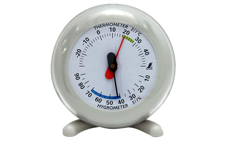 温湿度計  Q-3  丸型  6.5㎝  ライトグレー